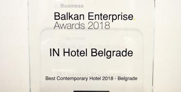 Beogradskom IN hotelu priznanje Best Contemporary Hotel za 2018.